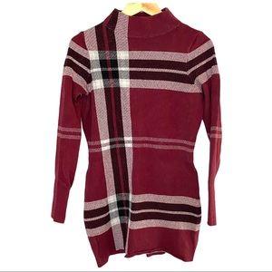 Le Chateau Knit bodycon tartan mock neck dress